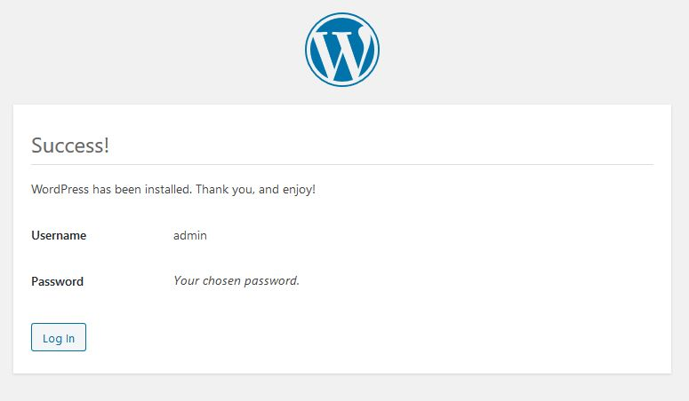 successful wordpress installation complete