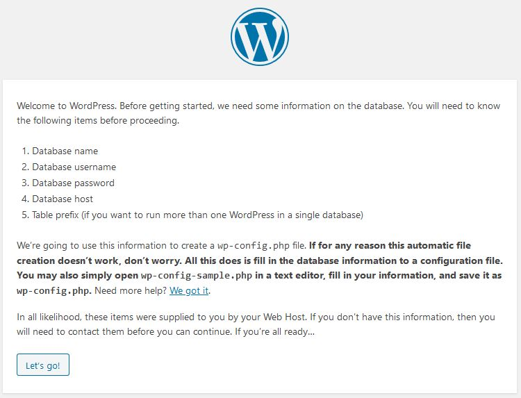 wordpress databse configuration