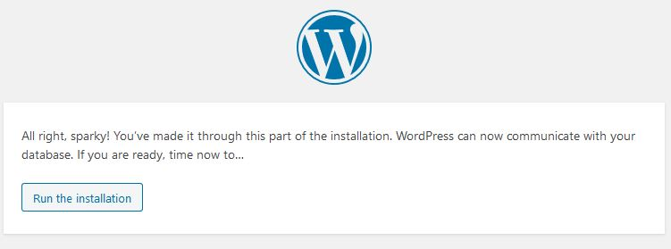 wordpress databse run