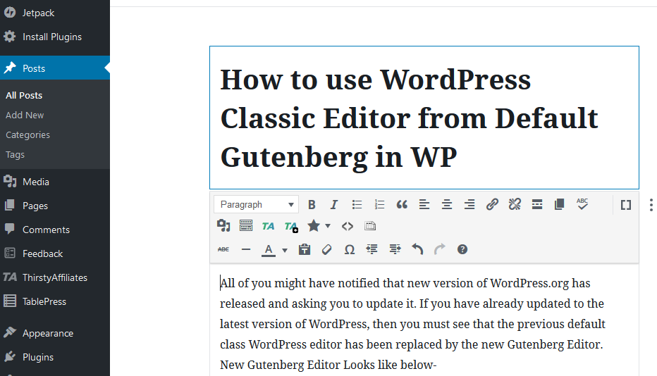 Switch From Gutenberg to Classic Editor