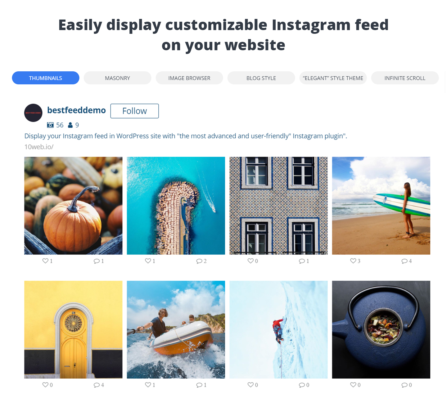 10web instagram profile embed