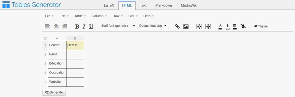html tables generator